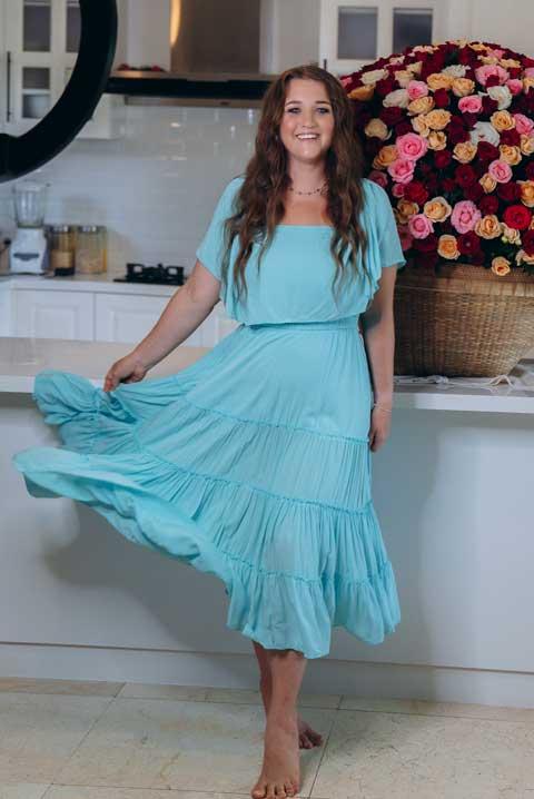 Бирюзовое платье на резинке для кормящих