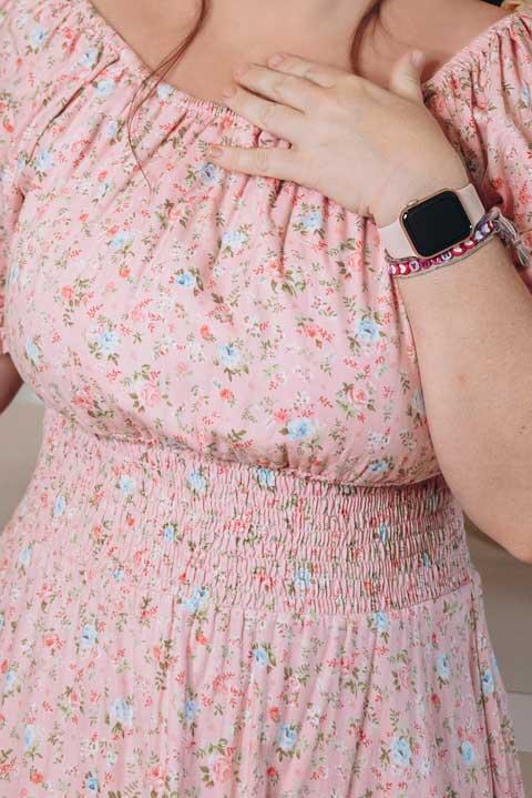 Купить розовое платье ниже колен хлопок
