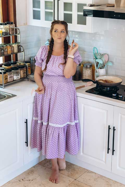 Купить платье лавандовыйгорох