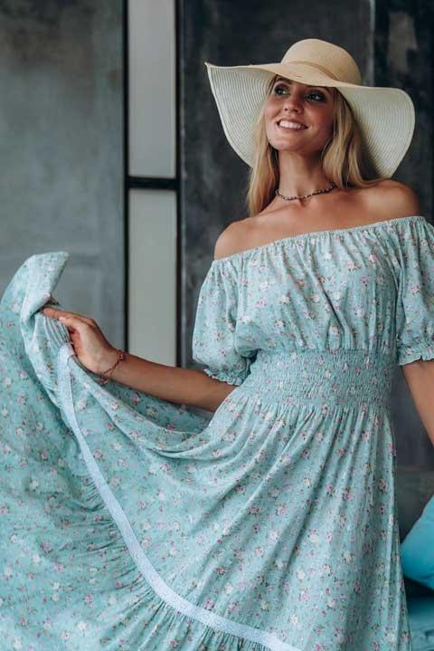 Платье Парвати мятные розочки от Ольги Валяевой