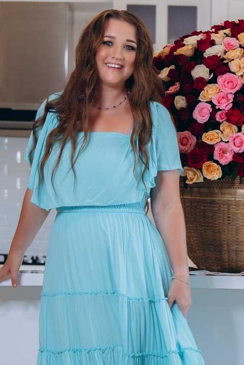 Купить синее платье на резинке
