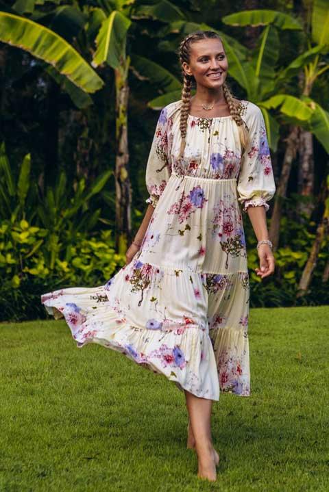 Платье миди от Ольги Валяевой принт цветы