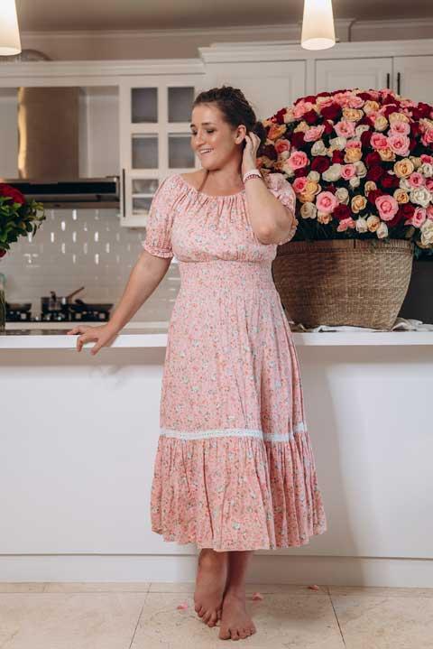 Купить удобное домашнее платье в цветочек
