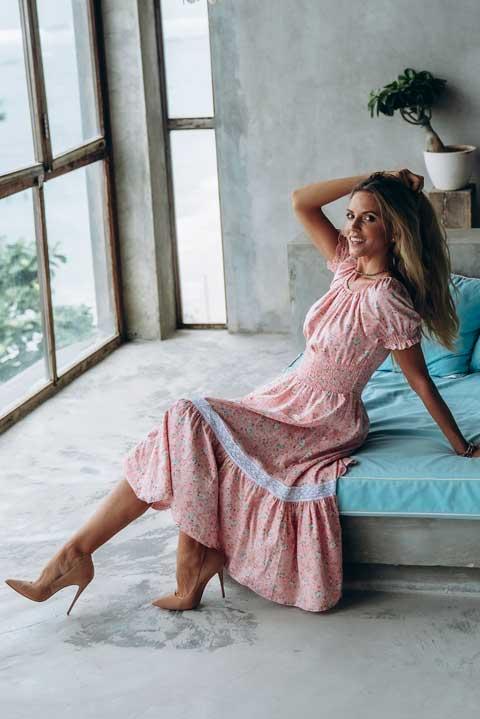 Платье Парвати розовые розочки от Ольги Валяевой