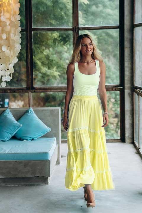 Купить желтую юбку в пол