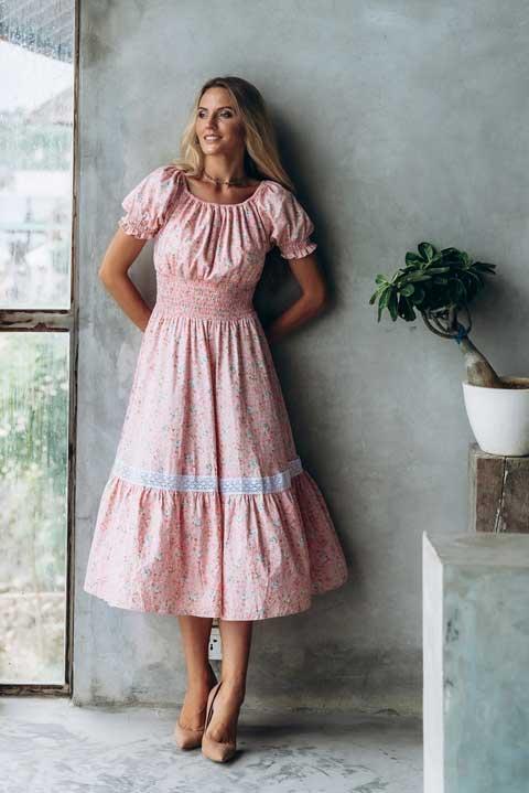 Купить розовое платье ниже колен Ольги Валяевой