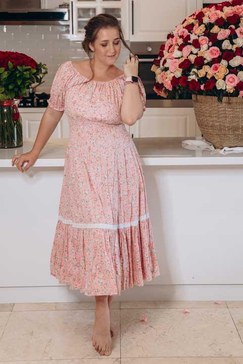 Купить платье хлопок цвет розовые розочки