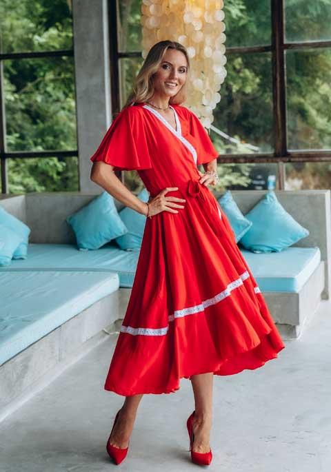 Платье миди красное купить