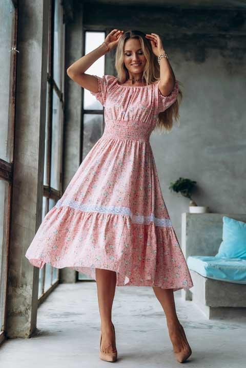 Розовые розочки купить платье