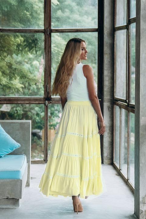 Купить юбку многоярусную желтого лимонного цвета