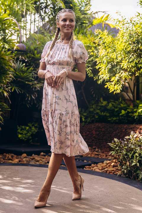 Домашнее платье на резинке цвет лайм
