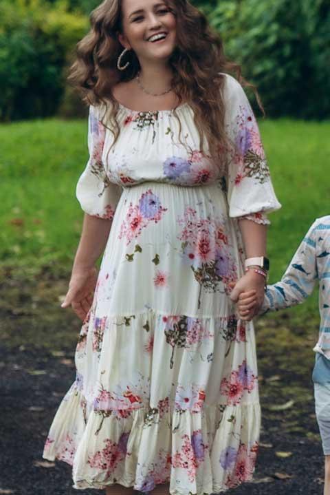 Купить нарядное платье принт цветы